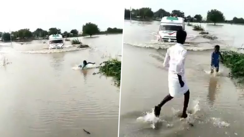 Viral Video of Boy Risking His Life to Guide an Ambulance Through Flooded Bridge Over Krishna River on Devadurga-Yadgir Road is Winning Hearts and HOW!