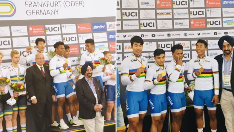 Indian Cyclists Create History After Bagging First-Ever Gold Medal at World Junior Championships, Defeat Australia in Final of Men's Team Sprint Event