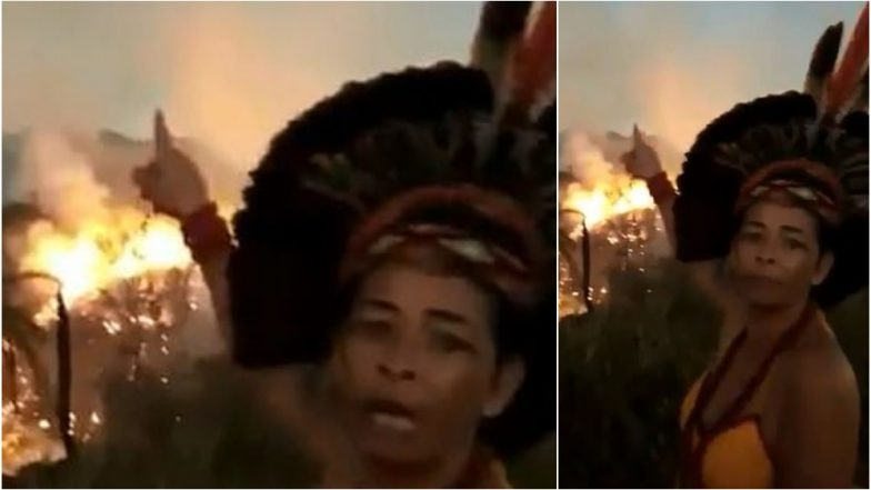 Amazon Rainforest Fires: Indigenous Brazilian Woman Cries in Anger Pointing at Forest Burning Behind Her (Watch Video)