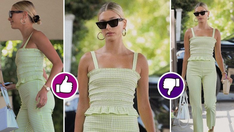 Yo or Hell No! Hailey Baldwin in Summery Green Ginham Top and Pants