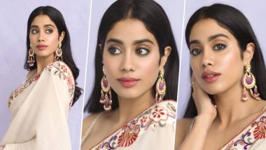 Janhvi Kapoor Looks Resplendent in a Beige Saree and Fans End Up Comparing Her With Mom Sridevi AGAIN (View Pics)