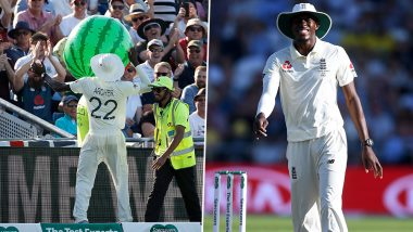 Jofra Archer 'Moment' From Ashes 2019 3rd Test Match: Pacer Returns Watermelon-Balloon Back to Crowd, Audience Sings in Praise (Watch Video)