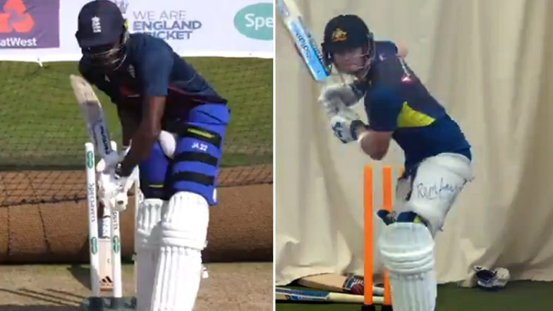 Ashes 2019: Jofra Archer Imitates Steve Smith's Unique Batting Stance in England Nets Ahead of Headingley Test (Watch Video)