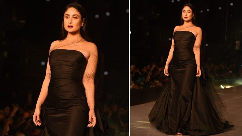 LFW Winter/Festive 2019: Kareena Kapoor Khan Carries a Black Gown and Sexy Damp Hairstyle with Tashan (See Pics)