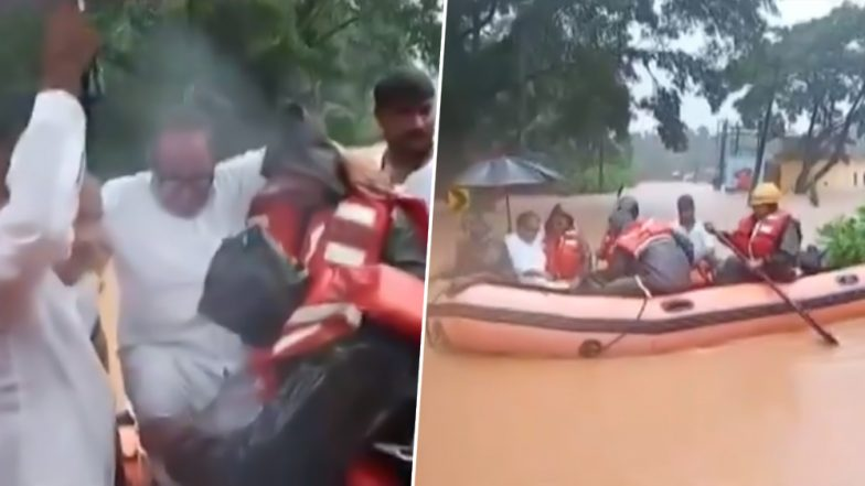 Karnataka Flood: Former Union Minister Janardhana Poojary Rescued From His House in Bantwal, Watch Video