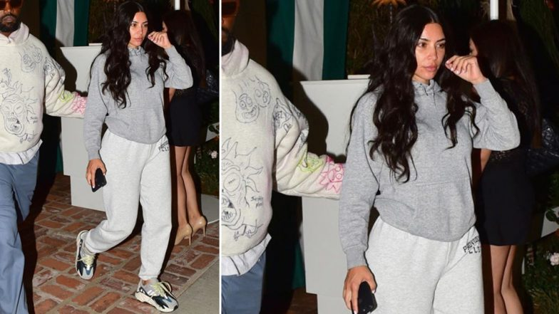 Kim Kardashian West Looks Gloomy as She Opts for Sweatpants and No Makeup for Dinner Date with Kanye West