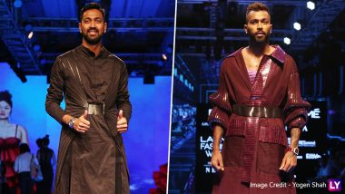 Hardik and Krunal Pandya at LFW Winter/Festive 2019: Indian Cricketer Brothers Turn Showstoppers For Amit Aggarwal in Lakme Fashion Week (View Pics)