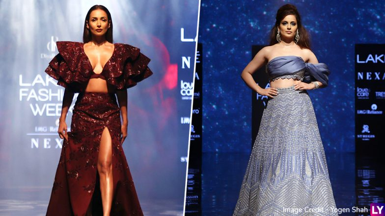 LFW Winter/Festive 2019 Day 5: Kangana Ranaut Sizzles in Ice Blue Lehenga, Malaika Arora Dazzles in Hot Oxblood Maroon Separates (View Pics)