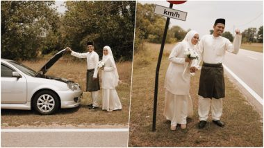 Unique Wedding Photoshoot! Malaysian Couple's Roadside Pictures After Car Breaks Down Go Viral (View Pics)