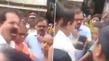 Mumbai Mayor Vishwanath Mahadeshwar Raises Hand on Woman While Being Heckled, Shooed Away by Locals in Santacruz; Watch Video
