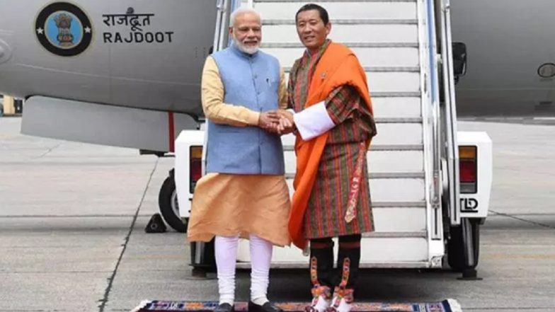 PM Modi Arrives in Bhutan, Says 'Deeply Touched' by Lotay Tshering's Gesture of Receiving Him at Airport