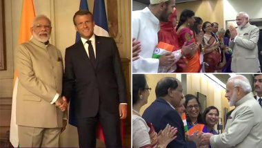 PM Narendra Modi Arrives in France For G7 Summit, Meets President Emmanuel Macron at Historic Chateau de Chantilly, See Pics