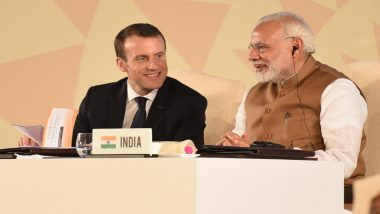 Narendra Modi in France: President Emmanuel Macron Speaks Against 'Third Party' Interference in Kashmir