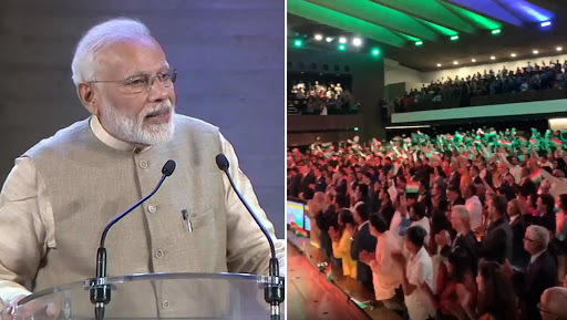 PM Narendra Modi Welcomed at Paris Event With Loud Chants And Applause, Says 'We Took Actions Against Corruption, Nepotism and Terrorism in Just 75 Days'; Watch Video