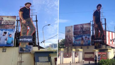 Saaho on August 30! Fans Put-Up Massive Cut-Out Of Prabhas Outside A Chennai Multiplex