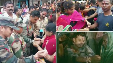 Maharashtra Floods: Ahead of Raksha Bandhan 2019, Sangli Women Tie Rakhis to Army And Navy Jawans For Carrying Out Rescue Operations; Watch Video