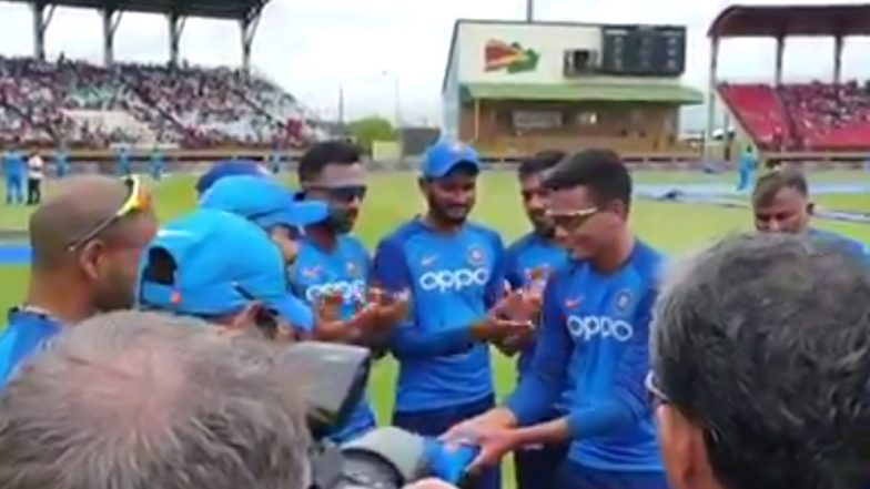 Rahul Chahar Makes India Debut; See The Moment Captain Virat Kohli Hands Him Indian Cap And Welcomes in Team (Watch Video)