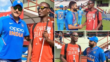 Virat Kohli, Rohit Sharma & Ravi Shastri Make This Fan's Day Ahead of India vs West Indies 1st ODI 2019 Match in Guyana (View Pics and Video)