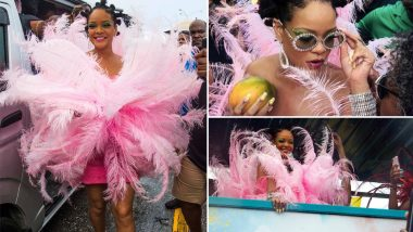 Rihanna Stuns Fans With Feather Covered Pink Look for Crop Over Festival