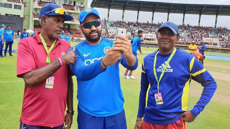 Rohit Sharma Obliges Groundsmen with a Selfie Ahead of India vs West Indies 1st ODI 2019 Match at Providence Stadium (View Pic)