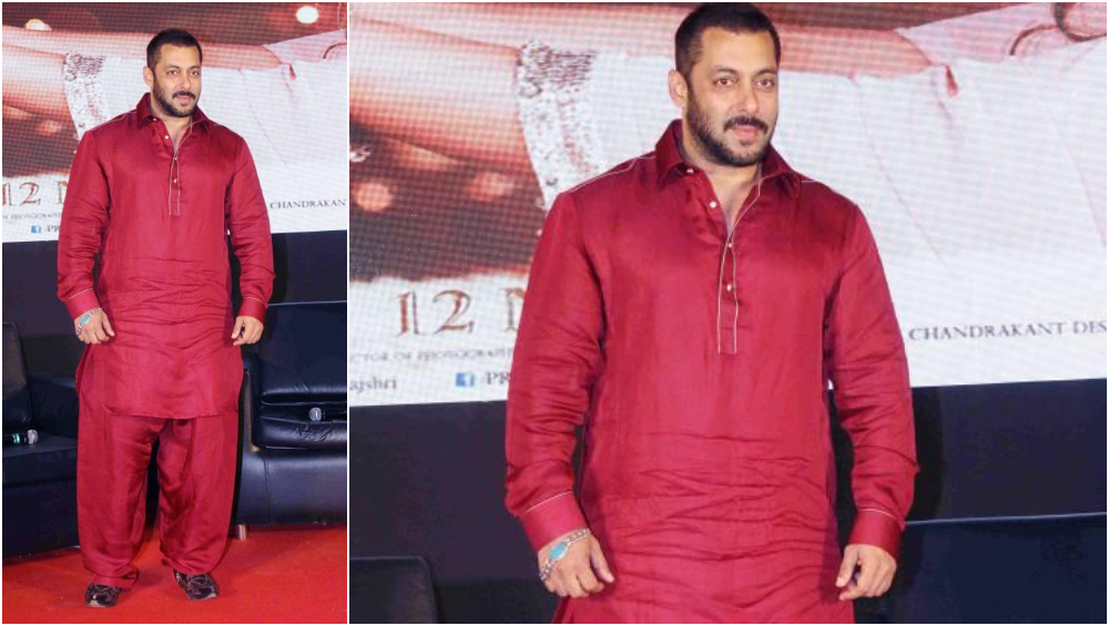 Salman Khan in a Red Pathani suit.