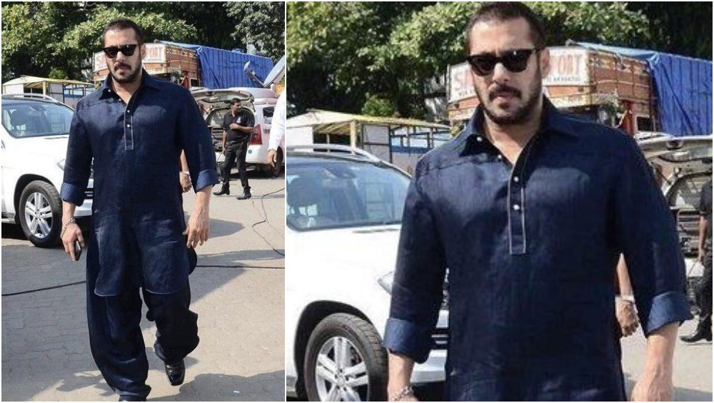 Salman Khan in a solid blue patahani suit.