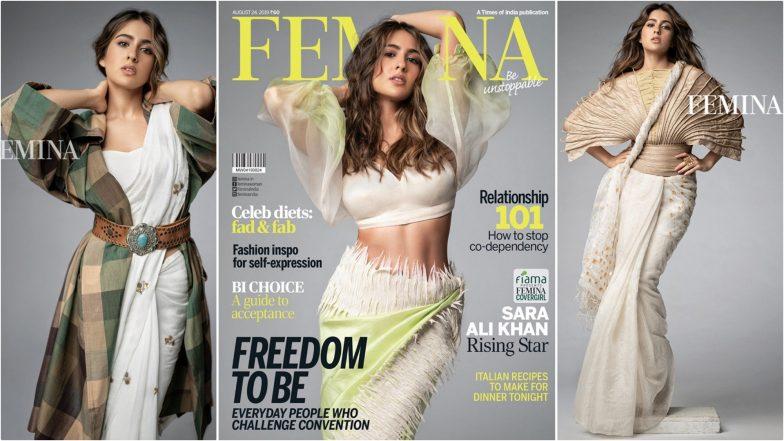Sara Ali Khan Flaunts Washboard Abs and Stylish Ways to Drape Sarees As Femina India's Latest Covergirl (View Pics)