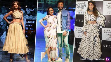LFW Winter/Festive 2019 Day 5: Shilpa Shetty Looks Resplendent in Beige Lehenga, Genelia-Riteish Deshmukh Rock The Indo-Western Look (View Pics)