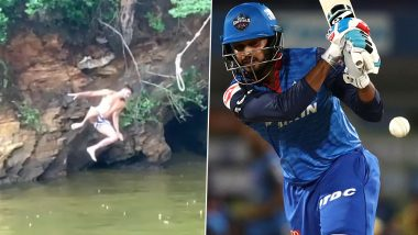 Shreyas Iyer Imitates Tarzan While Jumping Into River in Trinidad Post India's Victory Over West Indies in 2nd ODI (Watch Video)
