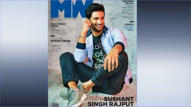 Sushant Singh Rajput Looks Dapper AF in Bomber Jacket, Printed Tee With Striped Trousers! View Magazine Cover Pic