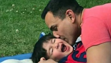Taimur Ali Khan Looks Cute as He Laughs Uncontrollably But It Is Saif Ali Khan's 'Langda Tyagi' Look That Has Our Attention! (View Pic)