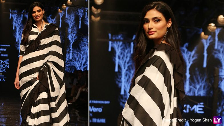 LFW Winter/Festive 2019: Athiya Shetty Slays in a Black and White Saree as Abraham and Thakore's Showstopper at Lakme Fashion Week (View Pics)