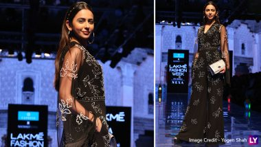 LFW Winter/Festive 2019: Rakul Preet Singh Mesmerises in a Black Ensemble as Showstopper for Nachiket Barve at Lakme Fashion Week (View Pics)