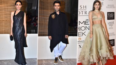 Lakme Fashion Week Winter/Festive 2019:  Karisma Kapoor, Karan Johar, Khushi Kapoor Make Stunning Red Carpet Appearances for Manish Malhotra's Opening Show