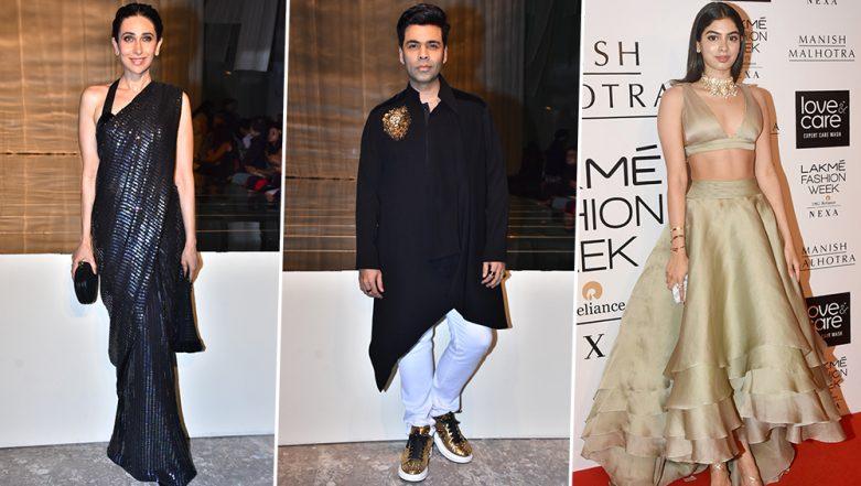 Lakme Fashion Week Winter/Festive 2019:  Karisma Kapoor, Karan Johar, Khushi Kapoor Make Stunning Red Carpet Appearances for Manish Malhotra's Opening Show