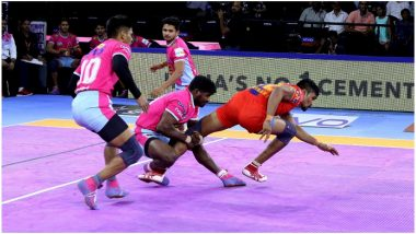 PKL 7 Results: All-Around Performance Helps UP Yodddha Upset Table Leaders Jaipur Pink Panthers 31–24 in Pro Kabaddi League 2019 Encounter