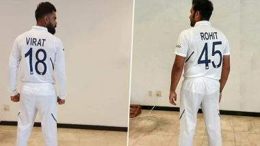 Virat Kohli, Rohit Sharma and Other Indian Cricketers Flaunt New Test Jerseys With Names and Numbers Ahead of Test Match Against West Indies (See Photos)