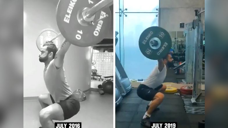 Virat Kohli Shares Intense Work-Out Video Ahead of India vs West Indies 1st ODI 2019, Explains How He Got Better at Weight-Lifting in 3 Years (Watch Video)