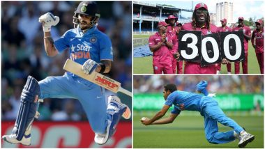 India vs West Indies 2nd ODI Stat Highlights: Virat Kohli and Chris Gayle Smash Several Records as IND Beat WI by 59 Runs via DLS Method