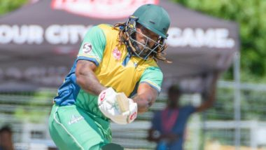 Chris Gayle Smashes Pakistan Bowler Shadab Khan for 32 Runs in Over During Global T20 Canada 2019 Match (Watch Video)