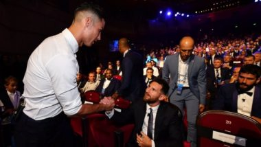 Lionel Messi and Cristiano Ronaldo Share a Warm Moment Ahead of UEFA Player of The Year 2019 Announcement at UCL Draw (See Pic)