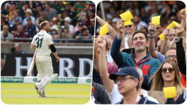 David Warner Gets Booed After his Dismissal, Fans Show Sandpaper to the Australian Opener During the 1st Ashes 2019 Test (Watch Video)