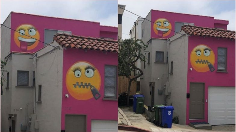 A California community is an angry face over giant emojis on house