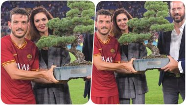 AS Roma's Alessandro Florenzi Receives Tree Trophy From Esha Gupta Who Becomes First Indian Actor to Attend Mabel Green Cup (View Pic)