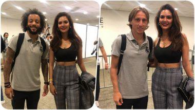 Esha Gupta Meets Real Madrid's Luca Modric, Marcelo, Toni Kroos & Nacho Fernandez Iglesias After Mable Green Cup (See Pics)