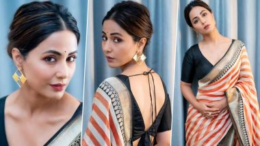 Hina Khan's Orange, White and Gold Saree Is A Complete Show-Stealer! (View Pics)
