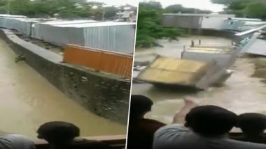 Madhya Pradesh Floods: Shops Swept Away After Boundary Wall Collapses Due to Deluge in Neemuch, Watch Horrific Video
