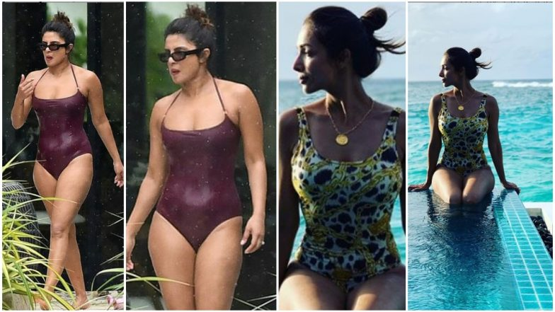 Will You Pick Priyanka Chopra's Solid Colour Monokini over Malaika Arora's Printed One? (View Pics)