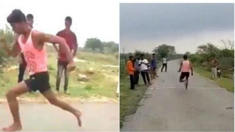 19-Year-Old Sprinter Rameshwar Gurjar Impresses Kiren Rijiju by Completing 100m Sprint in 11 Secs; Union Minister Promises to Arrange Training (Watch Video)