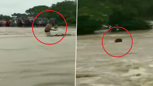 Madhya Pradesh Floods Video: Man Washed Away While Crossing Flooded River in Rajgarh